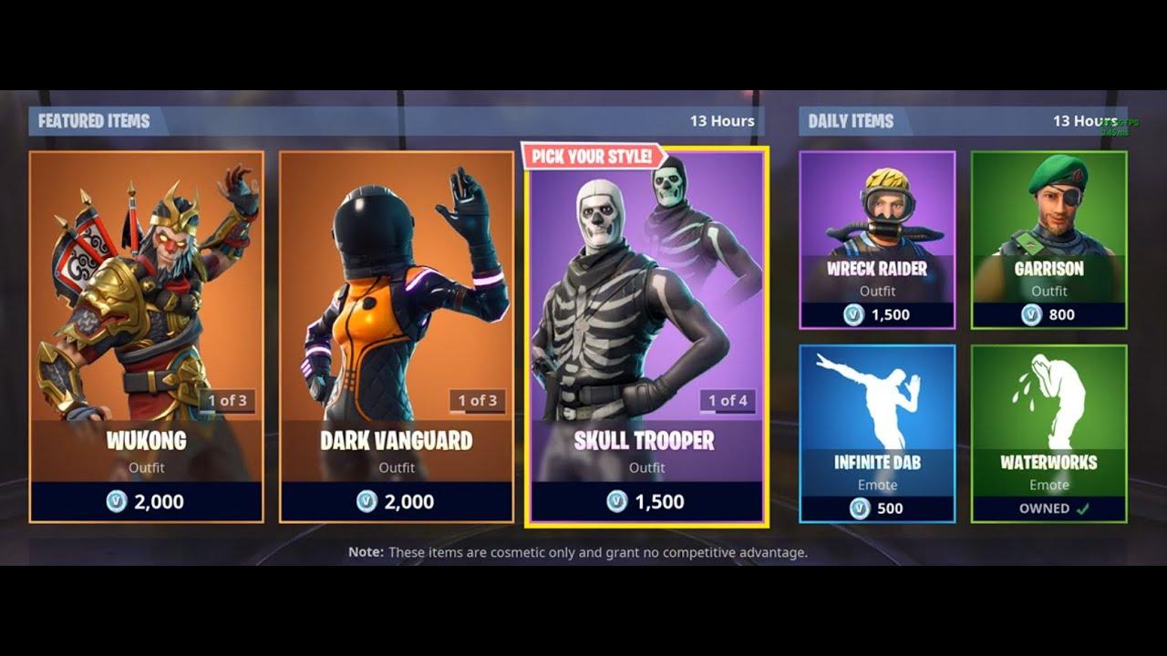 Skull Trooper Is Back Fortnite Item Shop 10 October Youtube
