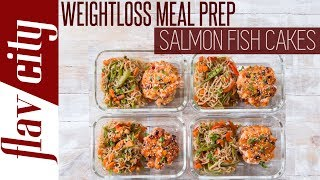 This recipe for weight loss has under 390 calories and is the tastiest salmon meal prep around. healthy never tasted so god with sa...