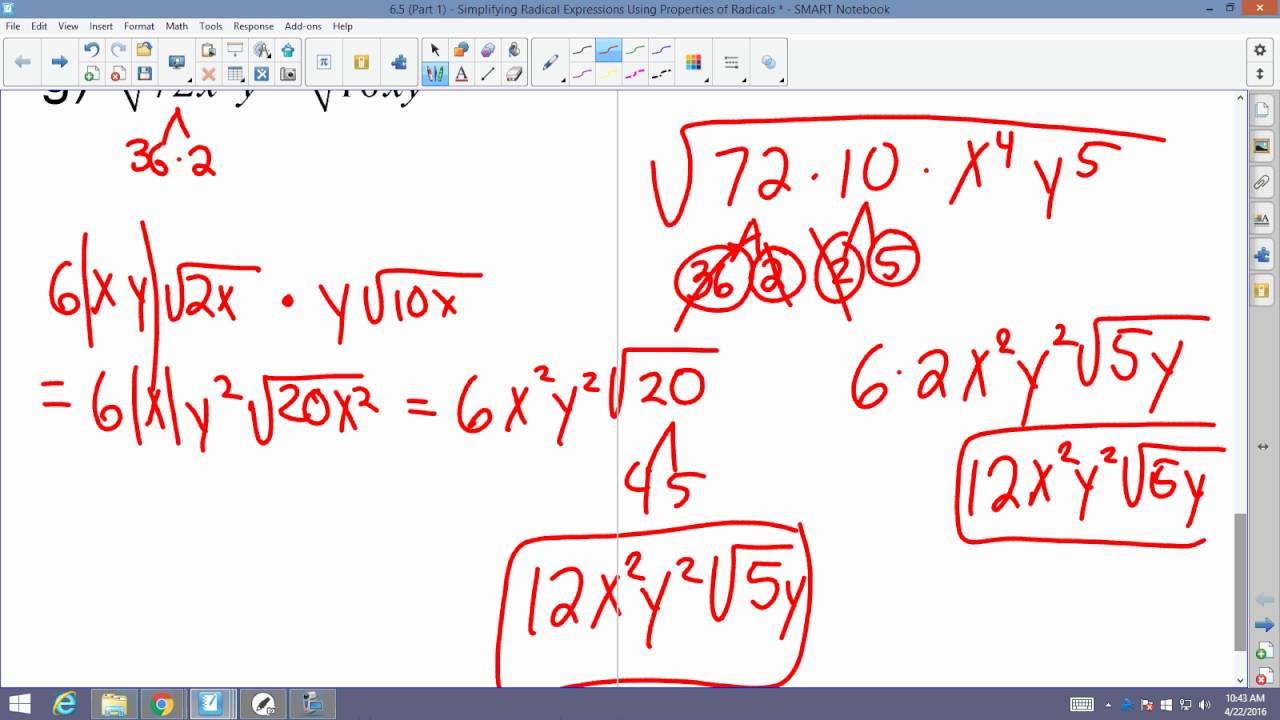 Algebra 2 Accelerated: 6 5 (Part 1): Simplifying Radical Expressions Using  Properties of Radicals