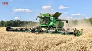 Big 45ft John Deere 745FD HydraFlex Draper Harvesting Wheat
