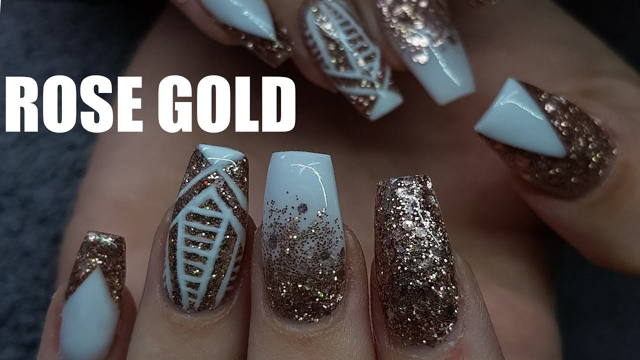 White Acrylic Nails With Gold Glitter Papillon Day Spa
