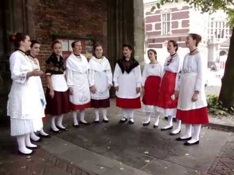 CROATIAN maiden choir ZVJEZDICE singing on the UTRECHT Dom Square, 20-09-2014
