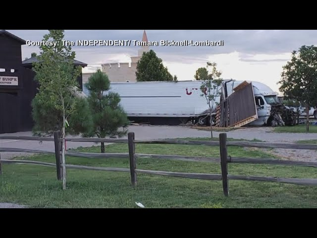 Semi crashes through fort at McCall's Pumpkin Patch