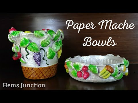 Paper Mache Bowls with Fruits Design   How to make Fruits using Clay