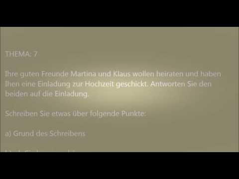 Deutsche Brief A1 A2 B1 Prüfung 2 Deutsch Lernen Youtube