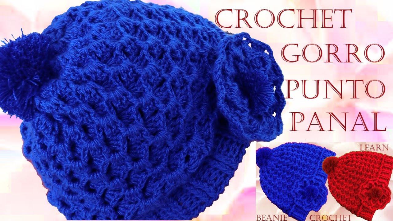 1e8002dc33a9f Como tejer Gorro boina a Crochet o Ganchillo punto panal en relieve ...