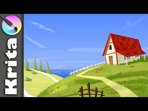 Krita tutorial- Vector style Landscape illustration- Digital Painting tutorial- Speed art Time-lapse