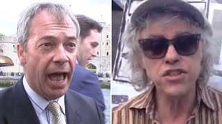 Bob Geldof and Nigel Farage trade insults on the Thames