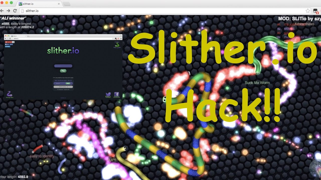 Slither.io Hacks/Mods: Zoom, IP, Position, FPS [Working] - YouTube