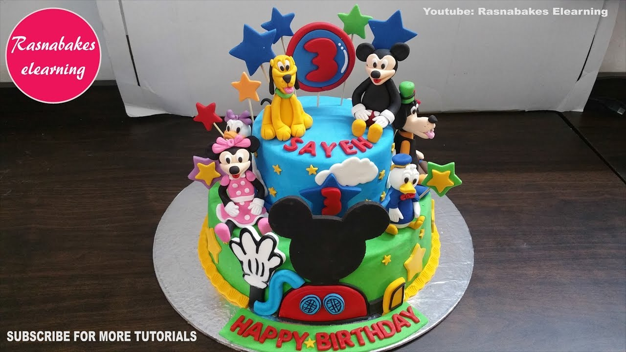 Mickey Mouse Clubhouse Birthday Cake Design Ideas Decorating Tutorial Classes Courses Video At Home Youtube