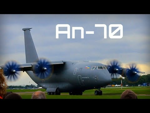 Antonov An-70 propfan cargo aircraft at Le Bourget 2013 - HD 50fps
