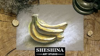 How to draw bananas with soft pastels 🎨 Fruits