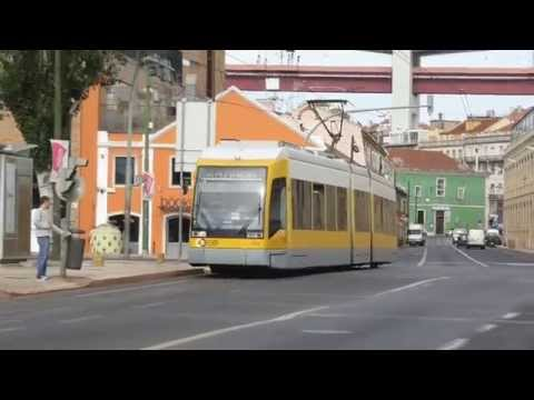 Modern Trams in Lisbon, Portugal
