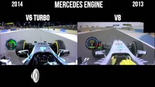 f1 v6 turbo vs v8 engine sound mercedes new f1 sound