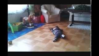 FUNNY BABY SLEEP ON THE FLOOR