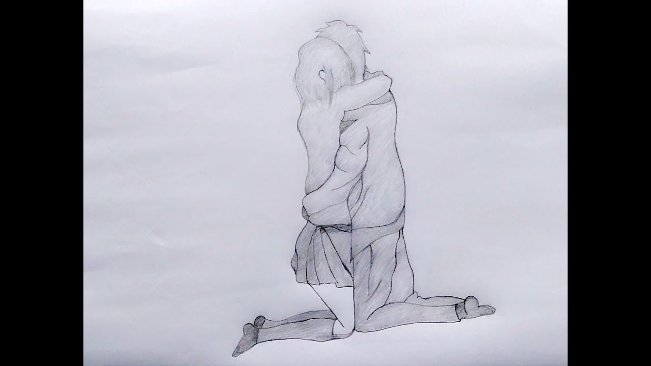 Drawing of boy and girl kissing naked — 1