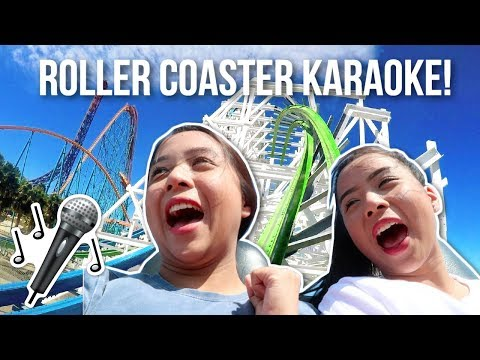 ROLLER COASTER KARAOKE CHALLENGE! | Caleon Twins