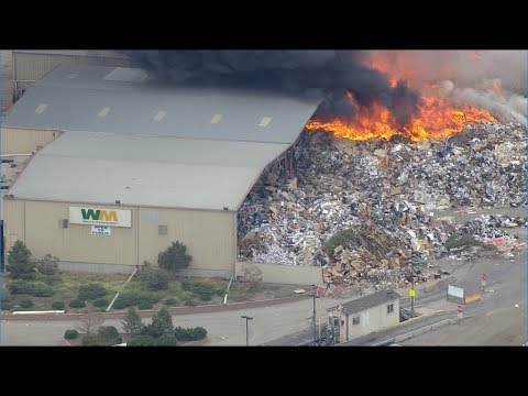 Fire at Waste Management in Commerce City - YouTube