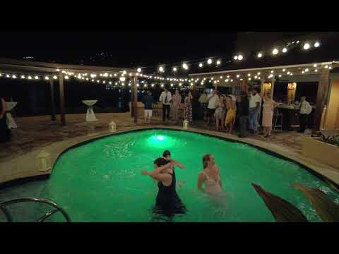 Jumping In The Pool At Nikki's Wedding