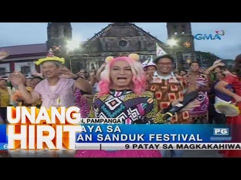 Mga kalalakihan sa Minalin, Pampanga, nagbibihis-babae sa kanilang Aguman Sanduk Festival