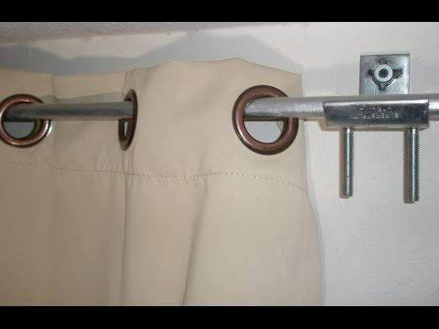 DIY Curtain rod & brackets / holders hack from electrical hardware & conduit from Home Depot
