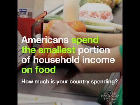 Americans spend the smallest portion of household income on food   How much is your country spending