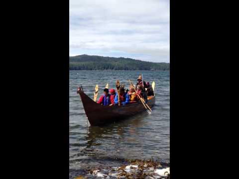 VIU Tribal Journeys Canoe Asking Permission to Land on Kwakiutl Territory (Fort Rupert, BC)