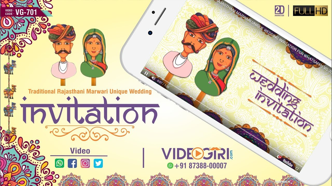 TRADITIONAL RAJASTHANI MARWARI UNIQUE THEME WEDDING INVITATION FOR ...