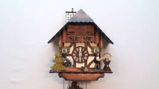 Cuckoo Clock With: Man Sawing, Chimney Sweep & Water Wheel