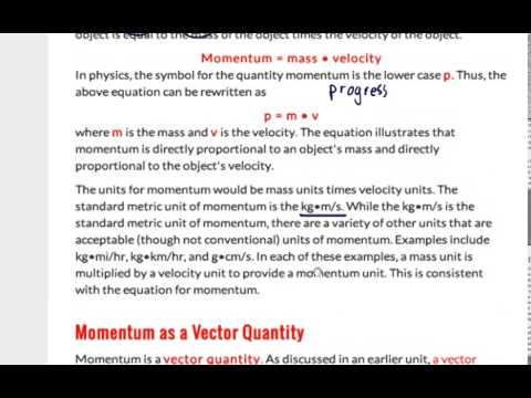 Physics Classroom Unit 4 Momentum Lesson Pt 1 Youtube