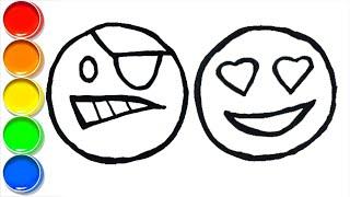 Coloring Emoji 🎨 Funny drawings for children