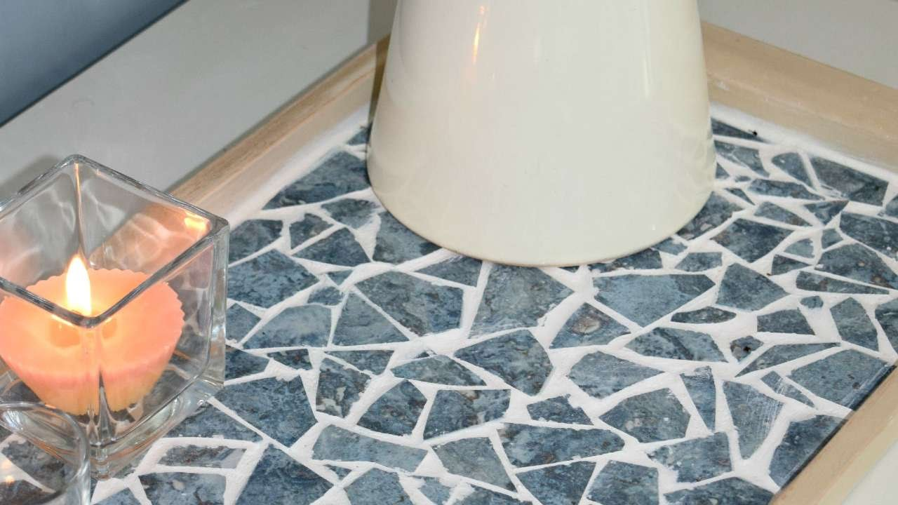 how to create a beautiful mosaic tray from old tiles diy home tutorial guidecentral