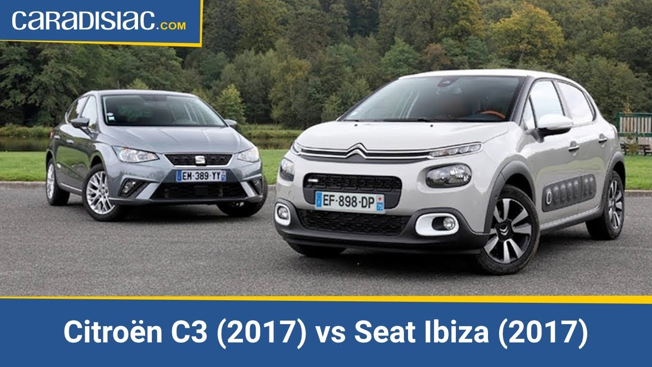 comparatif citro n c3 2017 vs seat ibiza 2017 les pointures youtube. Black Bedroom Furniture Sets. Home Design Ideas