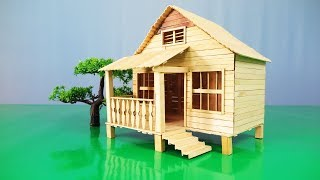 How to Make a Cute House By using Popsicle Stick 100 % - model 14