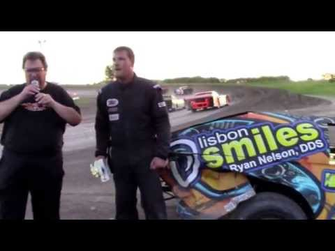 """Nate Reinke """"EXCITED"""" in victory lane at the Sheyenne River Speedway"""