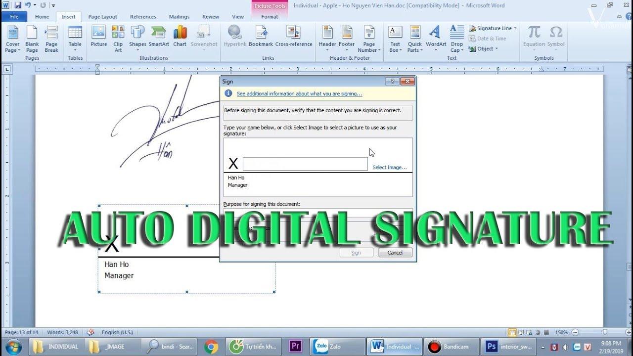 Cách tách nền file ảnh tạo chữ ký điện tử tự động trong MS Word
