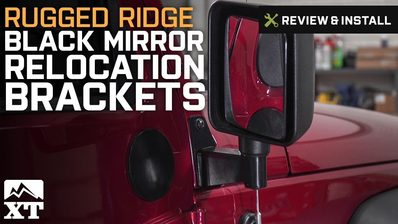 Pair for 2007-2018 Jeep Wrangler JK Rugged Ridge 11025.04 Black Mirror Relocation Bracket