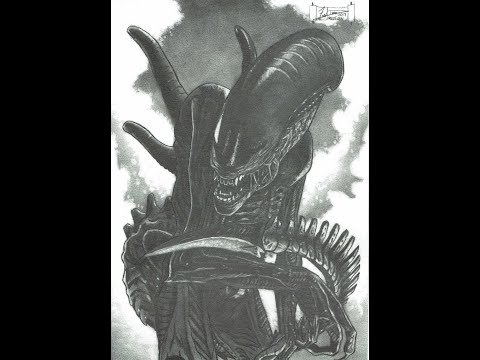 Xenomorph Alien A Dredfunn Mechanical Pencil Drawing