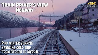 4K CABVIEW: Freezing cold morning with pink winter sunrise
