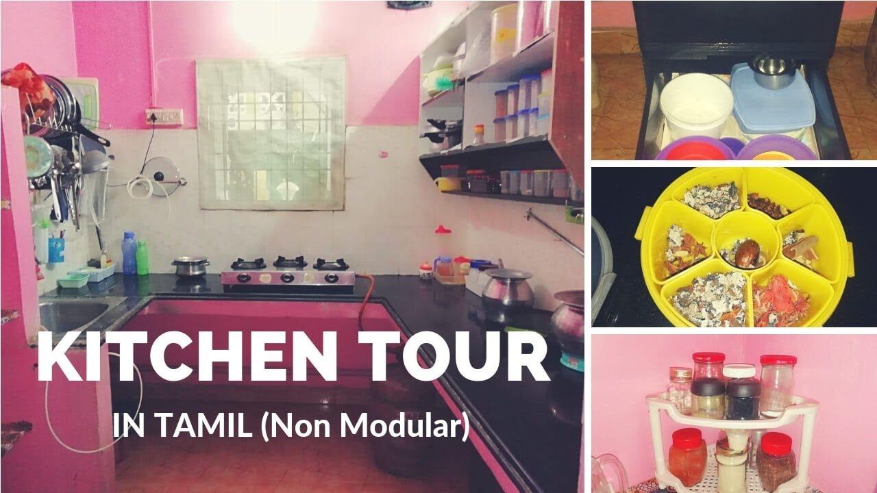 Kitchen Tour in Tamil   Non -Modular Kitchen   Kitchen Organization    Indian Kitchen Organization