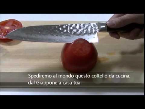 coltello da cucina damasco del giappone test di taglio
