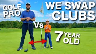 Golf Pro Vs 7 Year Old SUPERSTAR....WE SWAP CLUBS