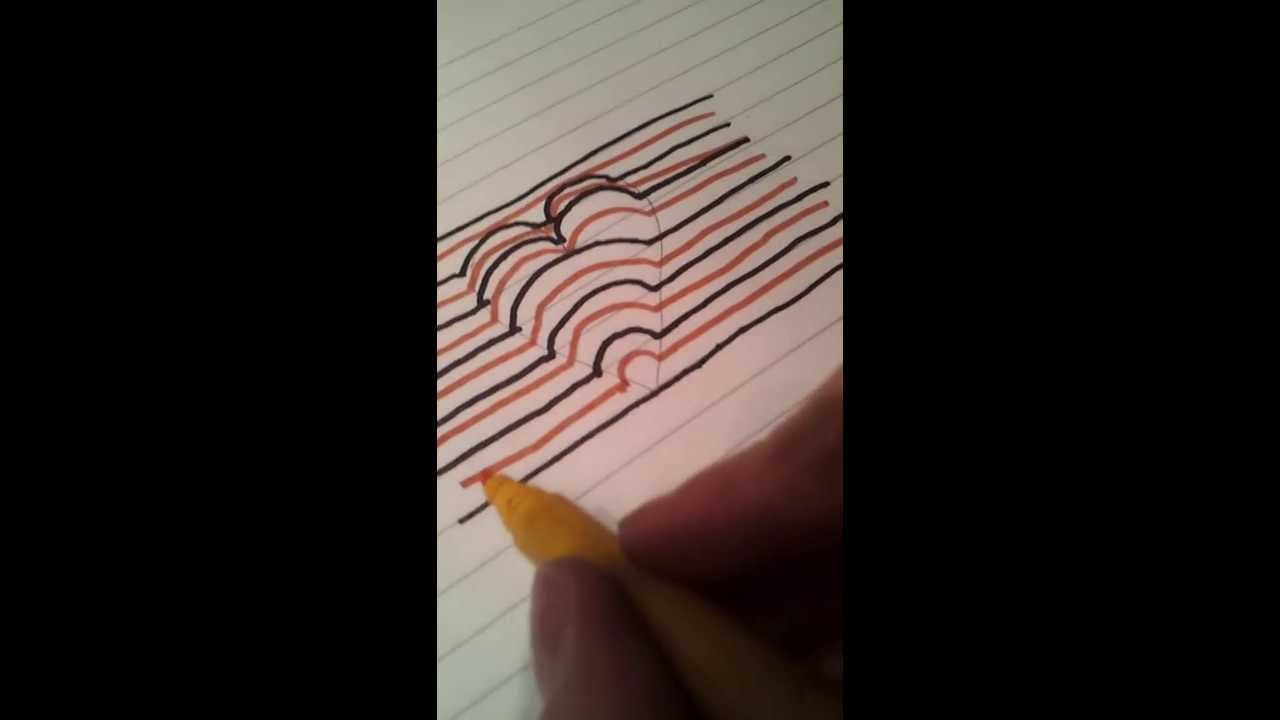 Line Drawing Heart Shape : Optical illusion d drawing a heart youtube