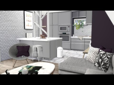 THE SIMS 4: SPEED BUILD // OPEN PLAN PURPLE / GREY APARTMENT thumbnail