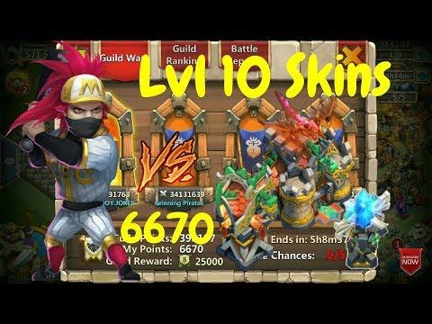 Ronin Bombing VS Max Level Buildings Skins L Guild Wars L Castle Clash