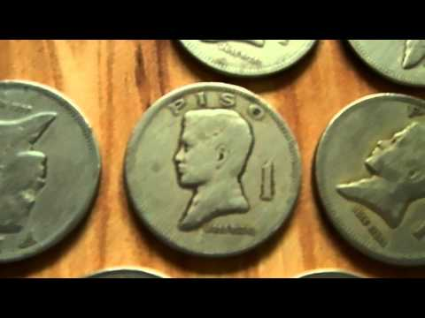 Antique 1 Peso Philippine Coin Collection