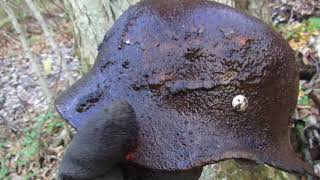 Немецкая каска в корнях дерева и опасные находки, раскопки по второй мировой