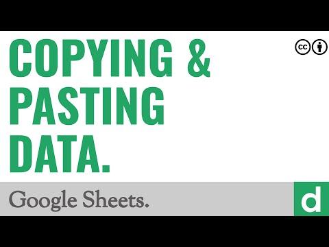 Copying & Pasting Data — Google Sheets
