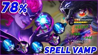 SELENA 78% SPELL VAMP TROLL BUILD! A Girl Who Pets TADPOLE [Mobile Legends World Record]