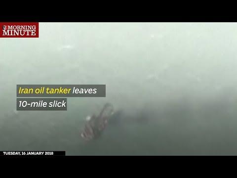 Iran oil tanker leaves 10-mile slick